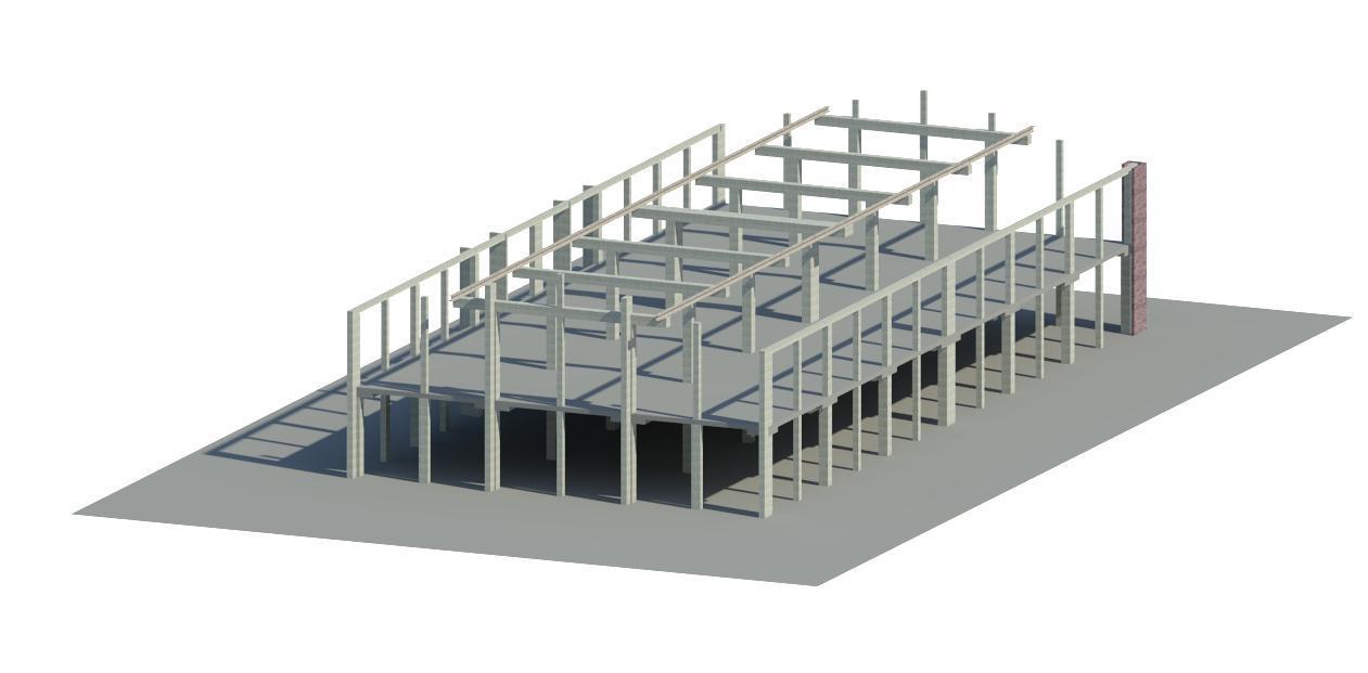 Model projektowy konstrukcji żelbetowej budynku.