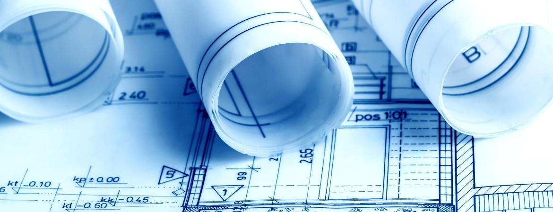 Projekty, przekrój pionowy i rulony.